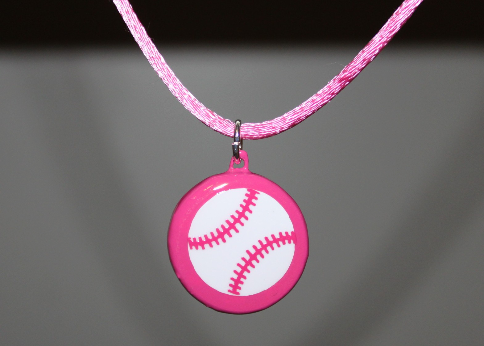Pink Porcelain Baseball Necklace