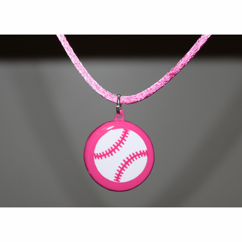 WEEKLY SPECIAL #7<br>Pink Porcelain Baseball Necklace