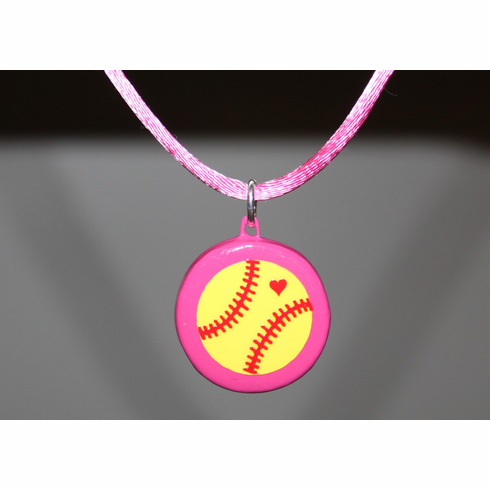 Pink Porcelain Softball Necklace
