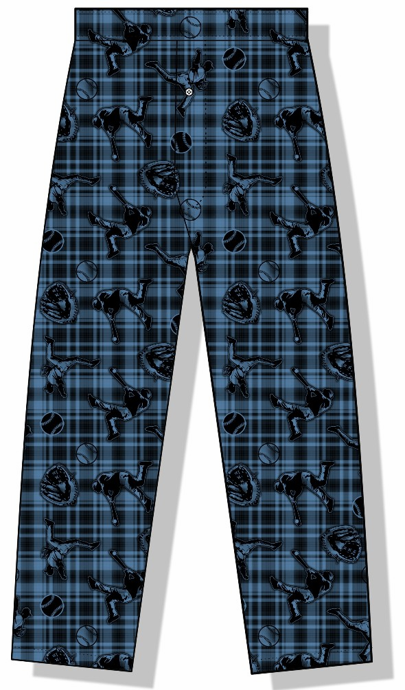 Plaid Baseball Icons Youth Lounge Pants<br>YOUTH XS or S