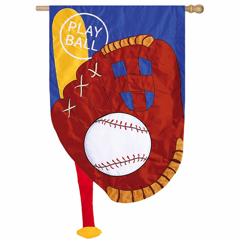 Play Ball Baseball Applique Flag