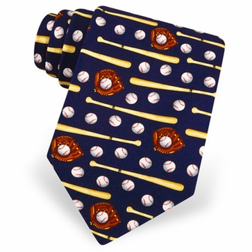 Play Ball Baseball Navy Blue Men's Silk Tie<br>LESS THAN 6 LEFT!
