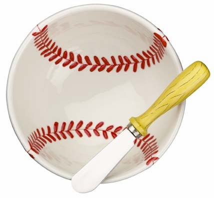 Play Ball Baseball Dip Bowl and Bat Spreader<br>LESS THAN 12 LEFT!