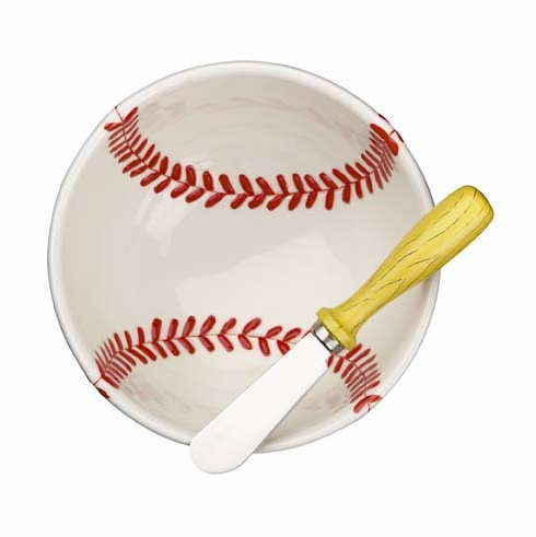 Play Ball Baseball Dip Bowl and Bat Spreader<br>RETIRED DESIGN!<br>ONLY 7 LEFT!