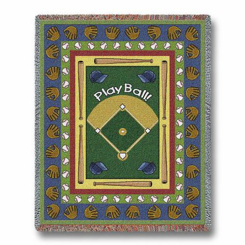 Play Ball Baseball Tapestry Throw Blanket