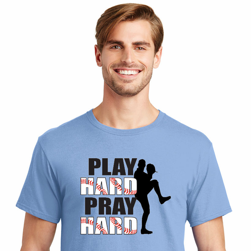 PLAY HARD PRAY HARD Baseball T-Shirt<br>Choose Your Color<br>Youth Med to Adult 4X