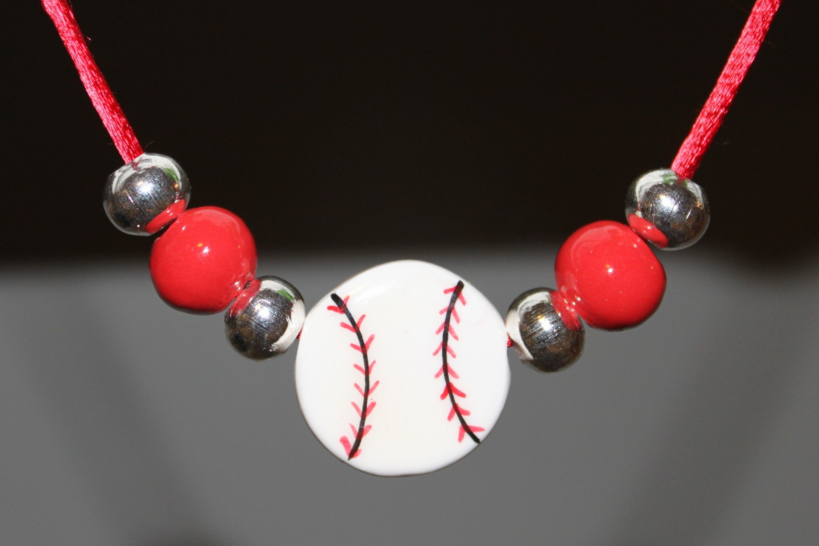 Porcelain Baseball Necklace with Red and Silver Beads