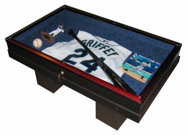 Premier Baseball Custom Display - Homeplate Heroes Coffee Table<br>2 SIZES AVAILABLE!<br>CHOOSE WOOD FINISH!<br>CHOOSE MAT COLOR!