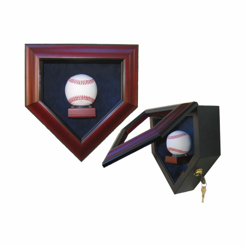 Premier Baseball Custom Display - Homeplate Shaped 1 Baseball Case<br>CHOOSE WOOD FINISH!<br>CHOOSE MAT COLOR!