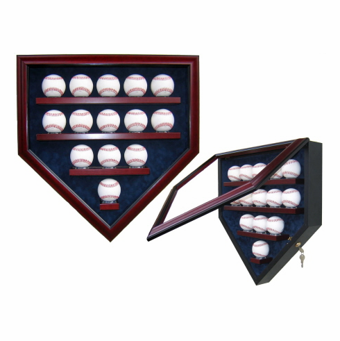 Premier Baseball Custom Display - Homeplate Shaped 14 Baseball Case<br>CHOOSE WOOD FINISH!<br>CHOOSE MAT COLOR!