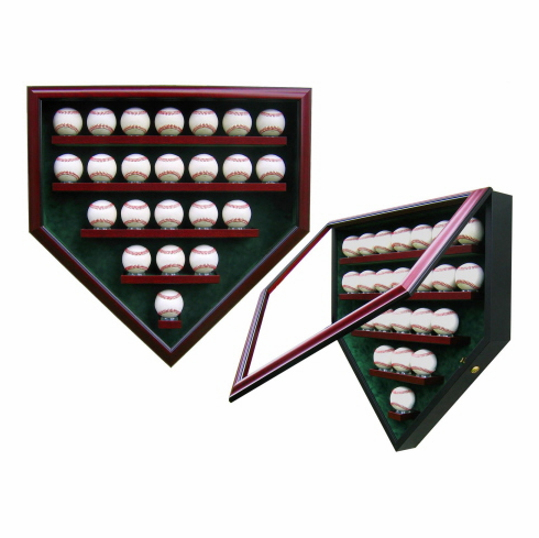 Premier Baseball Custom Display - Homeplate Shaped 23 Baseball Case<br>CHOOSE WOOD FINISH!<br>CHOOSE MAT COLOR!