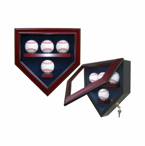Premier Baseball Custom Display - Homeplate Shaped 4 Baseball Case<br>CHOOSE WOOD FINISH!<br>CHOOSE MAT COLOR!