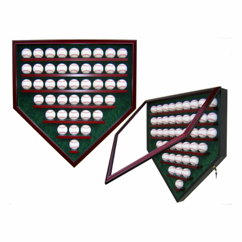 Premier Baseball Custom Display - Homeplate Shaped 43 Baseball Case<br>CHOOSE WOOD FINISH!<br>CHOOSE MAT COLOR!