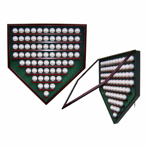 Premier Baseball Custom Display - Homeplate Shaped 69 Baseball Case<br>CHOOSE WOOD FINISH!<br>CHOOSE MAT COLOR!