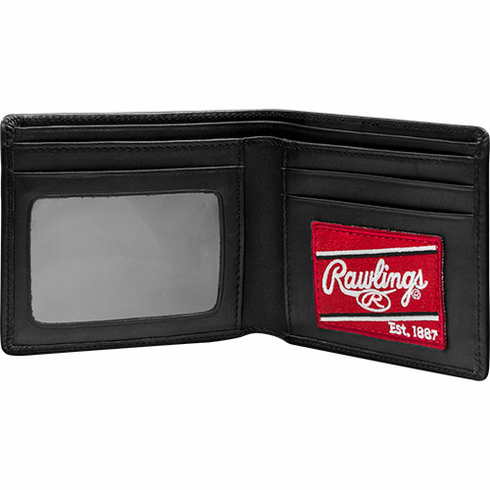 Premium Black Baseball Glove Leather Single-Fold Large Wallet by Rawlings<br>ONLY 1 LEFT!