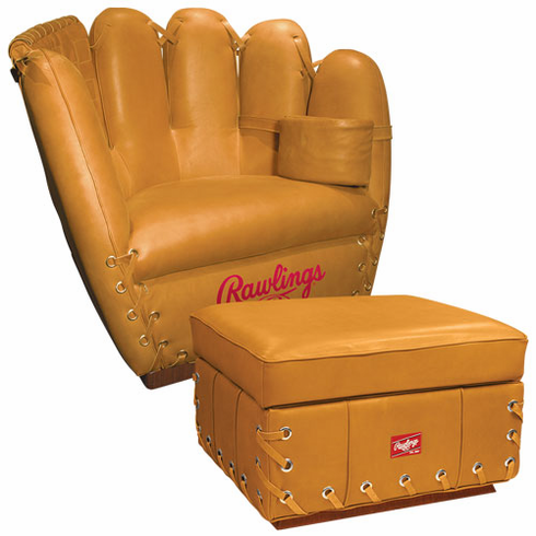 Premium Heart of the Hide Tan Baseball Glove Leather Mitt Chair and Ottoman Combo by Rawlings