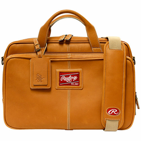 Premium Tan Baseball Glove Leather Briefcase by Rawlings