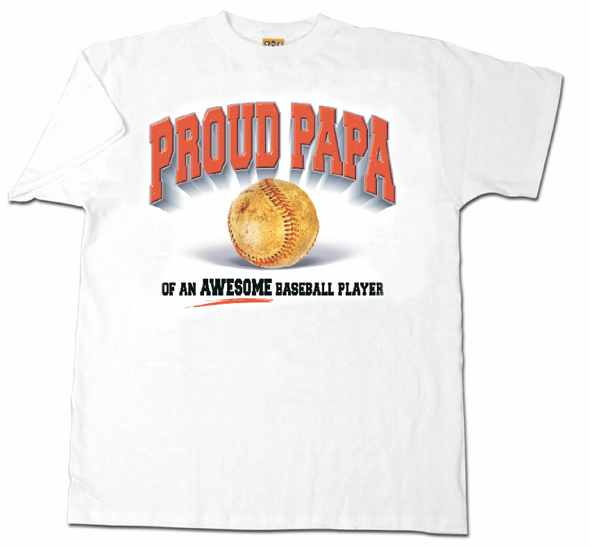 Proud Papa Baseball Adult Medium T-Shirt