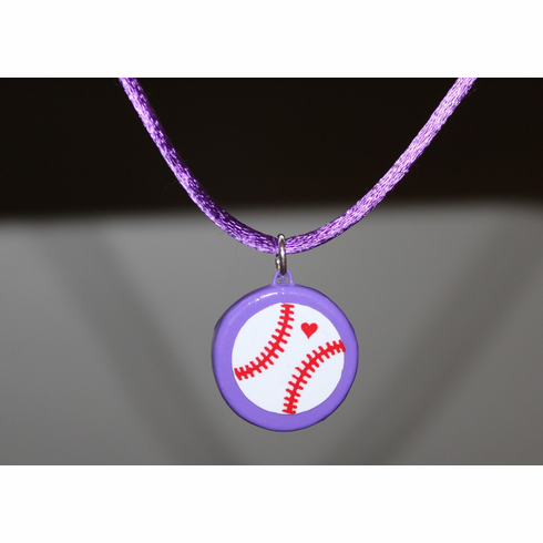 Purple Porcelain Baseball Necklace