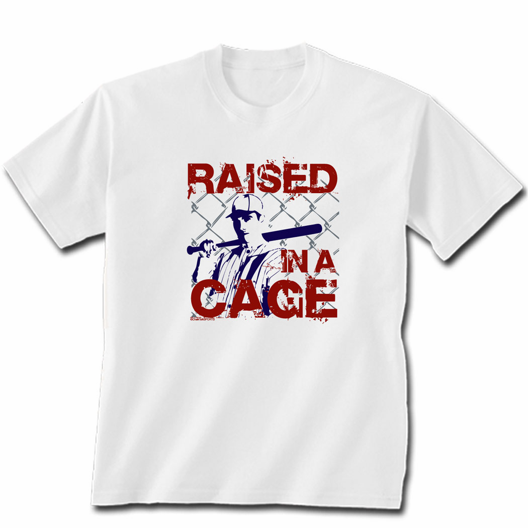 Raised in a Cage White Baseball T-Shirt<br>Adult XL