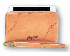 Rawlings Leather Baseball Stitch iPhone Zip Wallet<br>TAN or BLACK