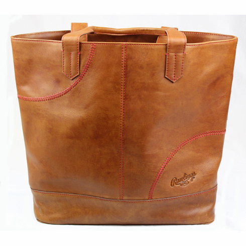 Rawlings Leather Baseball Stitch Large Tote Bag<br>TAN or BLACK<br>ONLY 2 TAN LEFT!