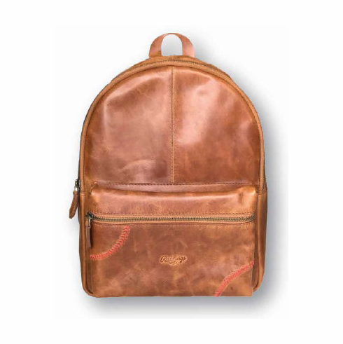 Rawlings Leather Baseball Stitch Mini Backpack<br>TAN or BLACK