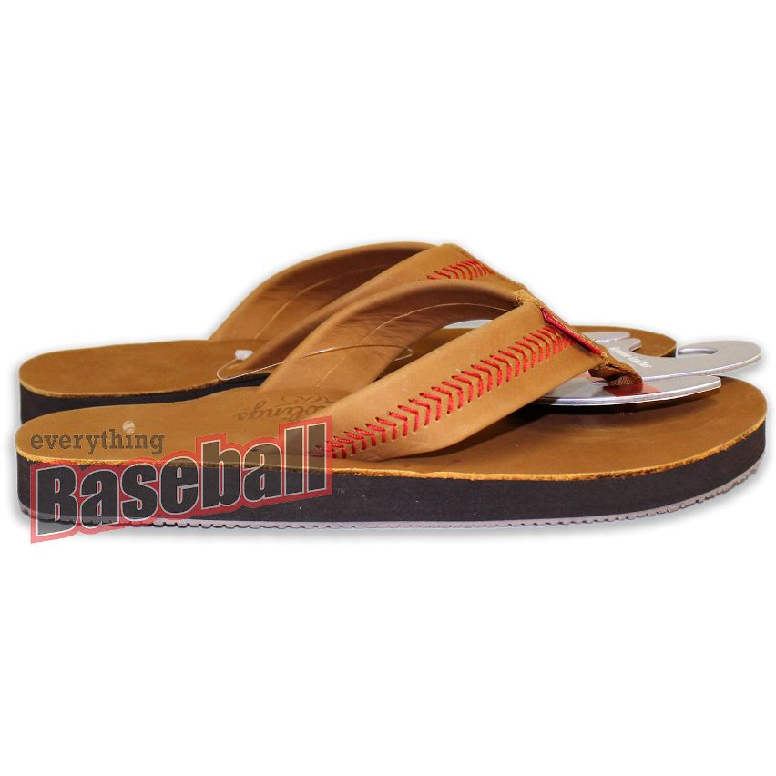 2018 Rawlings Tan Leather Men s Baseball Flip Flops br SPECIAL PRICING  WHILE SUPPLIES LAST! fa44a137524b