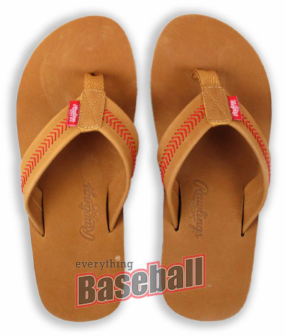 2018 Rawlings Tan Leather Men's Baseball Flip Flops<br>SPECIAL PRICING WHILE SUPPLIES LAST!
