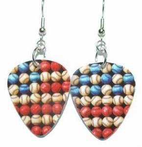 Recycled Baseball Gift Card Guitar Pick Dangle Earrings