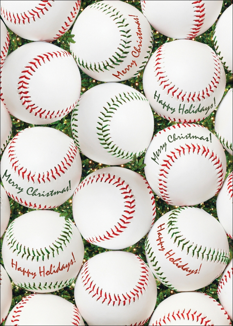 Personalized Red and Green Baseballs Christmas Cards<br>5 PACK MINIMUM!