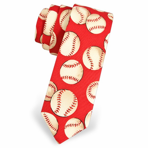 Red Baseball Youth Tie