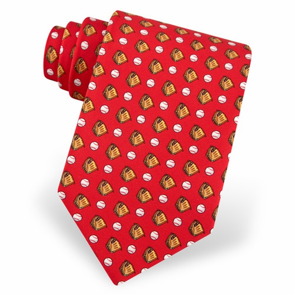 Red Baseballs & Gloves Men's Silk Tie<br>LESS THAN 6 LEFT!