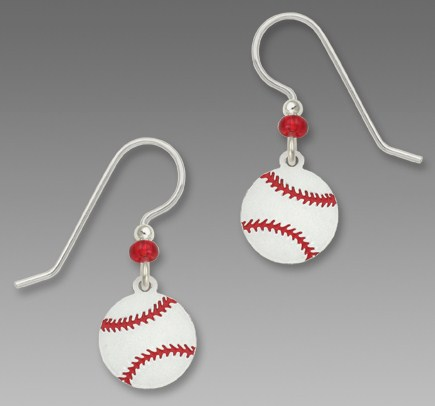Red Bead Baseball Dangle Earrings