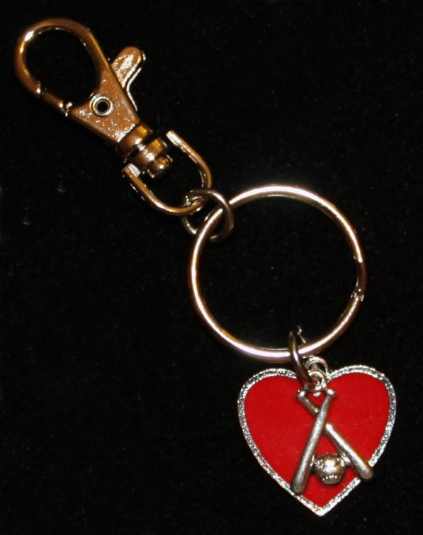 Red Heart Crossed Bats Key Chain