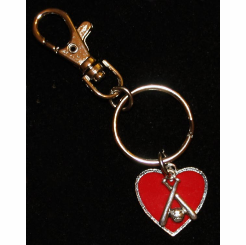 WEEKLY SPECIAL #16<br>Red Heart Crossed Bats Key Chain