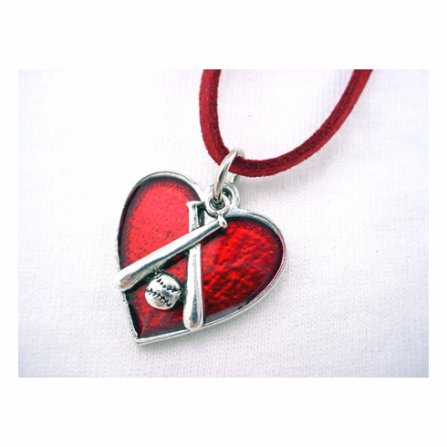 Red Heart Crossed Bats Necklace