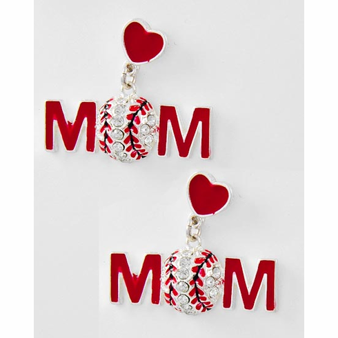 Red Heart Crystal Baseball Mom Post Earrings