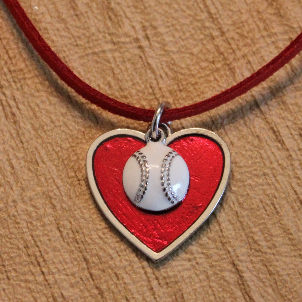 Red Heart Small Baseball Necklace