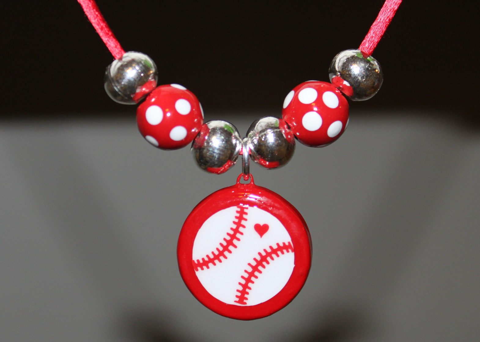 Red Porcelain Baseball Necklace with Polka Dot Beads