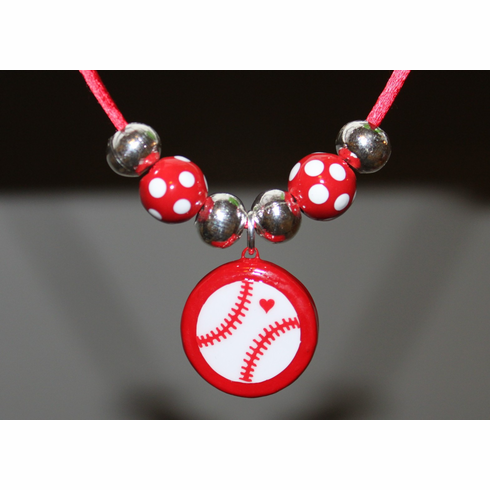 WEEKLY SPECIAL #5<br>Red Porcelain Baseball Necklace with Polka Dot Beads