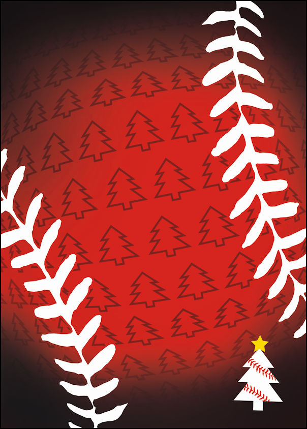 Red Trees Baseball Christmas Cards