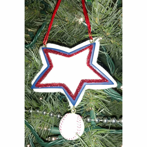 Red White and Blue Star Baseball Ornament<br>ONLY 4 LEFT!