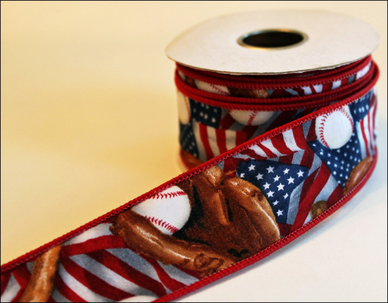 Red White and Blue USA Baseball Wire Edged Ribbon