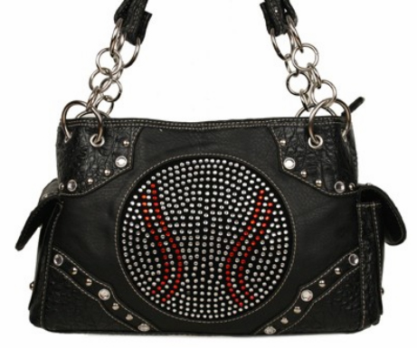 Rhinestone Baseball Black Handbag<br>ONLY 4 LEFT!