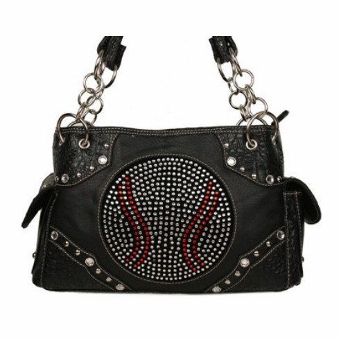 Rhinestone Baseball Black Handbag<br>ONLY 3 LEFT!