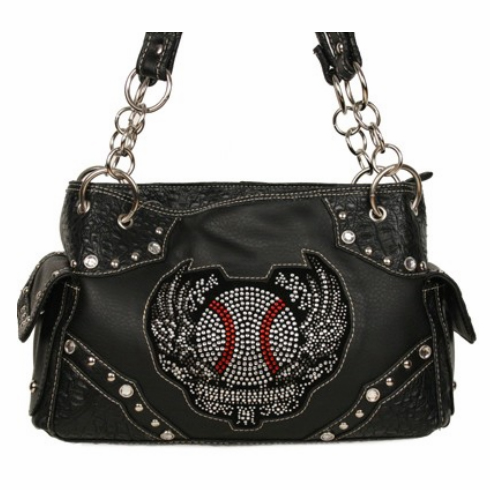 Rhinestone Baseball Wings Black Handbag<br>ONLY 2 LEFT!