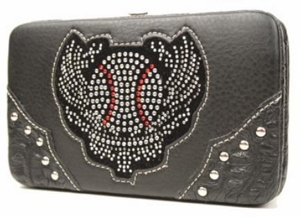 Rhinestone Baseball Wings Black Women's Wallet<br>ONLY 2 LEFT!
