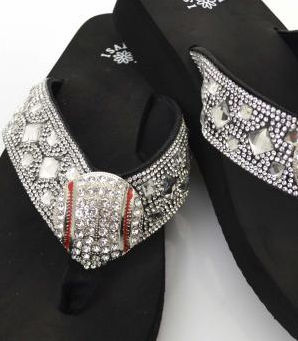 Rhinestone Strap Baseball Size 7 Flip-Flop Sandals<br>ONLY 1 LEFT!