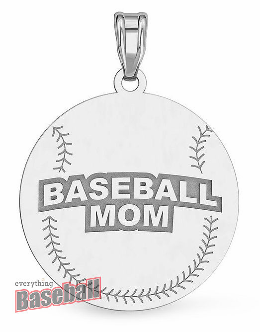 Round Baseball Mom Pendant<br>GOLD or SILVER